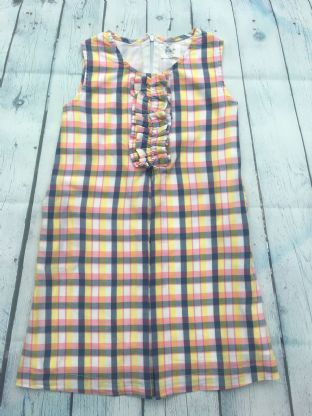Mini Boden checked yellow, blue and pink dress age 4-5